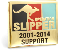 The rectangular Operation Pin is showing the tri-service colours of navy blue, red and light blue in vertical stripes set in a Gold plate face with a leaping kangaroo in Gold and words Operation Slipper printed over. The word Support sits at the bottom of the lapel pin face.